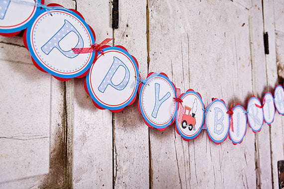 Train Happy Birthday Banner Large - Red & Blue - Get The Party Started