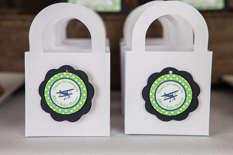 Airplane Vintage Favor Tags - Baby Shower - Navy & Green - Get The Party Started