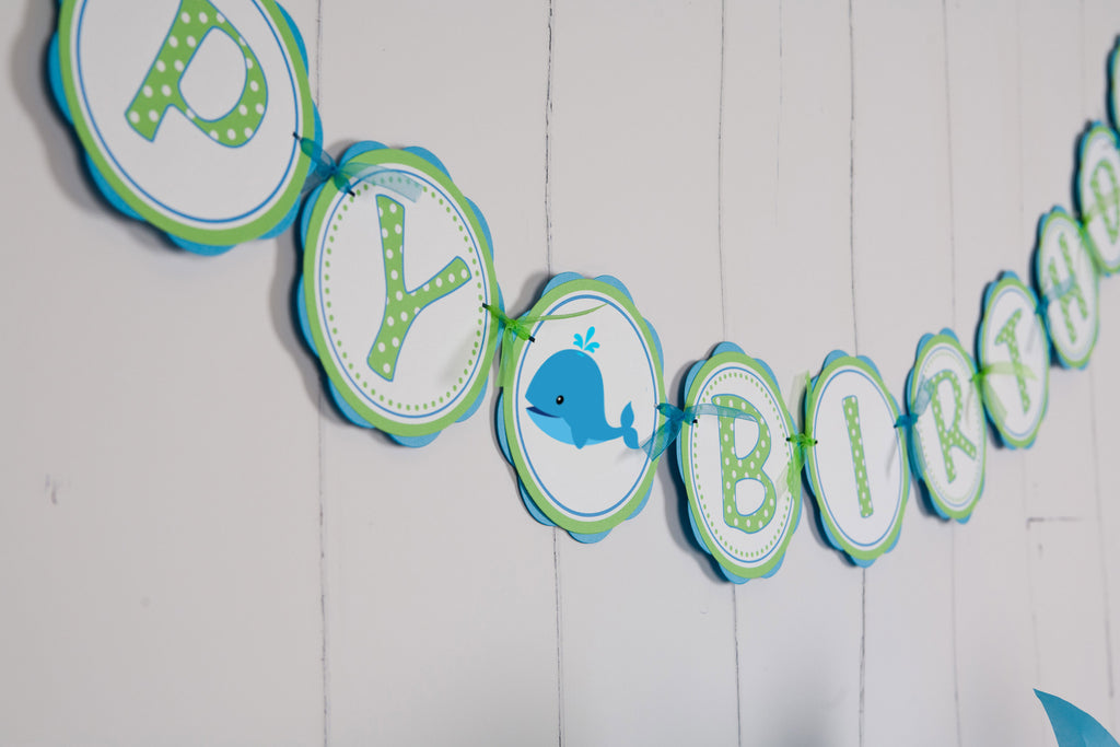 Whale Happy Birthday Banner Large - Aqua Blue & Green - Get The Party Started