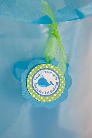 Whale Favor Tags Birthday Party - Aqua Blue & Green - Get The Party Started