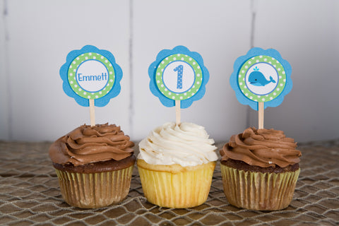 Whale Cupcake Toppers Birthday Party - Aqua Blue & Green - Get The Party Started
