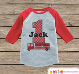 Firetruck Birthday Shirt - Boys Birthday Onepiece or Tshirt - Boy Birthday Outfit - Red Raglan Birthday Shirt - Boys First Birthday Raglan - Get The Party Started