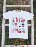 Kids Father's Day Outfit - Girls Happy 1st Fathers Day Onepiece or Tshirt - Baby Girl, Toddler, Infant, Newborn, Kids Fathers Day Gift Idea