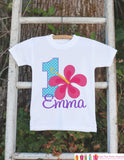 Hawaiian Luau First Birthday Outfit - Personalized Luau Bodysuit For Girl's 1st Birthday Party - Hawaiian Flower Bodysuit Birthday Onepiece
