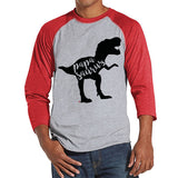 Papasaurus Shirt - Mens Red Raglan Shirt - Mens Baseball Tee - Dinosaur Shirt - Gift For Dad - Fathers Day Gift Idea - Gift Idea for Him