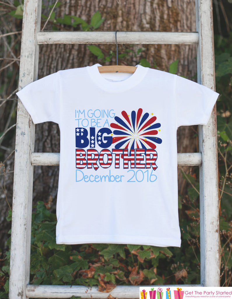 Boys 4th of July Outfit - Custom Big Brother Onepiece or Tshirt - Fourth of July Shirt for Baby Boys - Pregnancy Announcement Idea