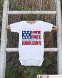 4th of July Outfit - Grandpa Veteran Onepiece or Tshirt - Fourth of July Shirt for Baby, Youth, Toddler - Grandpa Is Brave Onepiece or Shirt
