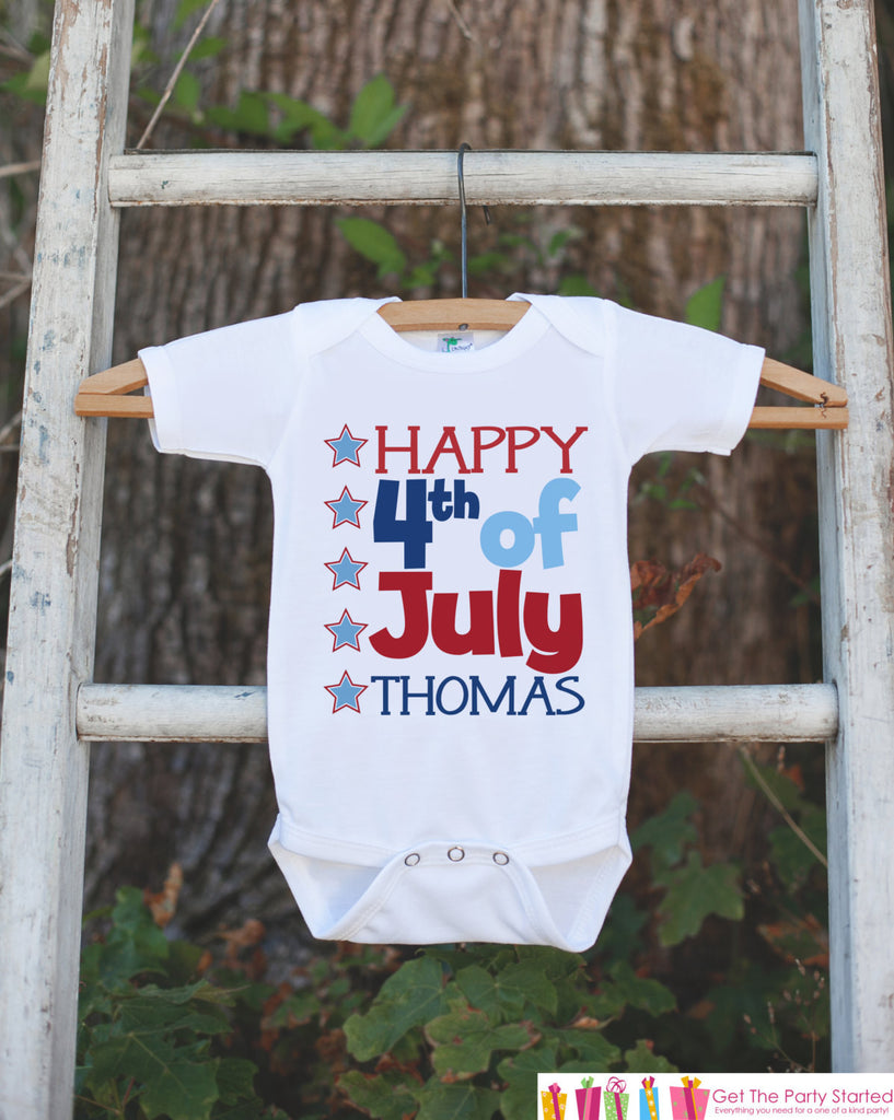 Kids 4th of July Outfit - Custom 4th of July Onepiece or Tshirt - Fourth of July Shirt for Baby, Toddler, Youth - Kids Patriotic Shirt - Get The Party Started