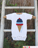 Kids 4th of July Outfit - Custom Ice Cream Onepiece or Tshirt - Fourth of July Shirt for Baby, Toddler, Youth - Kids Patriotic Shirt