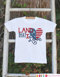 Kids 4th of July Outfit - Land That I Love Onepiece or Tshirt - Fourth of July Shirt for Baby, Toddler, Youth - Kids Patriotic Shirt - Get The Party Started