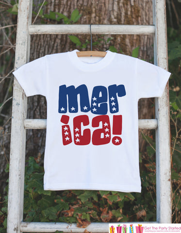 Kids 4th of July Outfit - Patriotic 'Merica Onepiece or Tshirt - Fourth of July Shirt for Baby, Toddler, Youth - Kids Patriotic Shirt - Get The Party Started