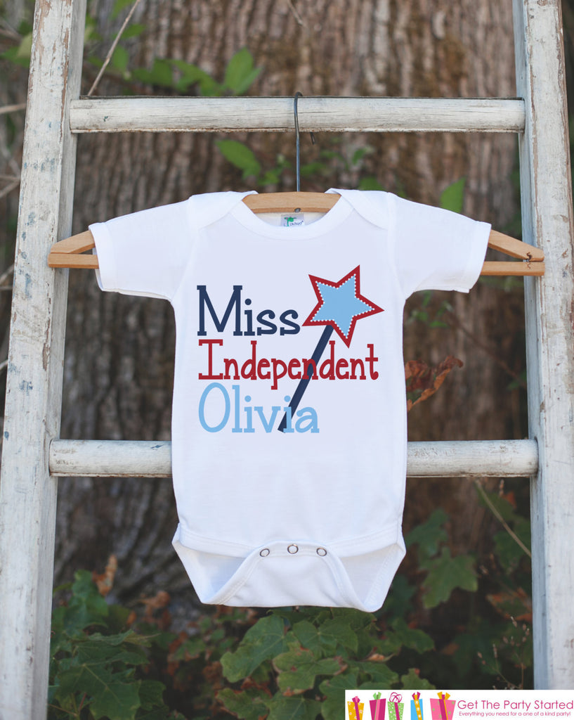 Girls 4th of July Outfit - Custom Miss Independent Onepiece or Tshirt - Fourth of July Shirt for Baby Girls - Kids USA Patriotic Shirt - Get The Party Started