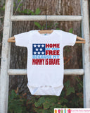 4th of July Outfit - Military Mom Onepiece or Tshirt - Fourth of July Shirt for Baby, Youth, Toddler - Mommy Is Brave Onepiece or Shirt