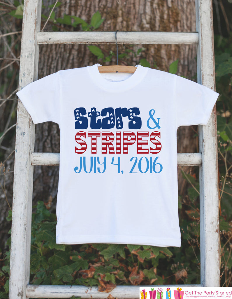 Kids 4th of July Outfit - Custom Stars & Stripes Onepiece or Tshirt - Fourth of July Shirt for Baby, Toddler, Youth - Kids Patriotic Shirt - Get The Party Started