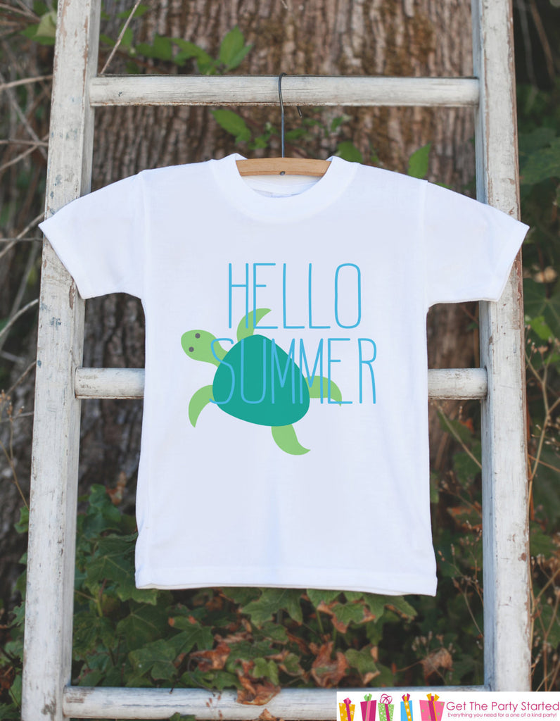 Turtle Hello Summer Onepiece or Tshirt - Summer Outfit For Kids, Infants -  Summer Onepiece or Shirt, Baby, Youth, Toddler - Summer Outfit - Get The Party Started