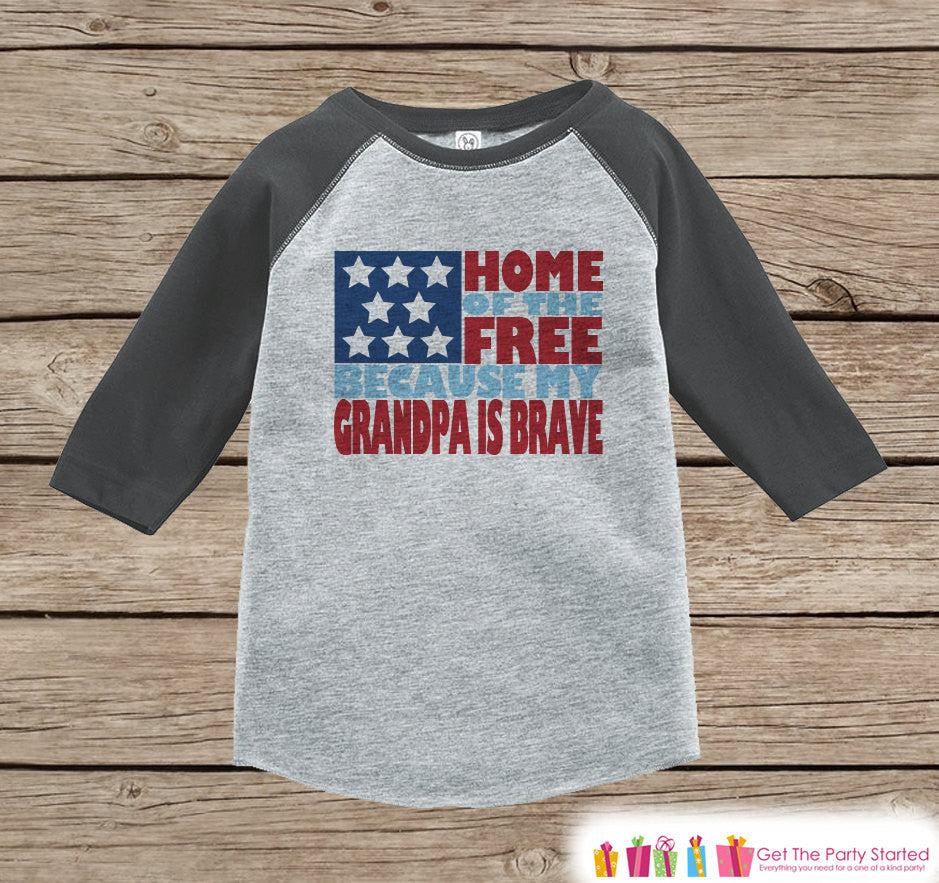 4th of July Outfit - Military Grandpa Onepiece or Tshirt - Kids Grey Raglan, Baseball Shirt - Grandpa Is Brave Onepiece or T-shirt - Get The Party Started