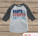 Kids Stars & Stripes Outfit - 4th of July Onepiece or T-shirt - Grey Raglan, Baseball Shirt - American Pride Shirt, Baby, Toddler, Youth - Get The Party Started