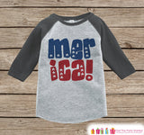 Kids 'Merica Outfit - 4th of July Onepiece or T-shirt - Grey Raglan Shirt, Baseball Tee - American Pride Shirt, Baby, Toddler, Youth