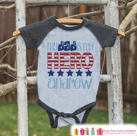 4th of July Outfit - Custom Dad Is My Hero Onepiece or T-shirt - Grey Raglan Shirt, Baseball Tee - Fourth of July Shirt Baby, Youth, Toddler