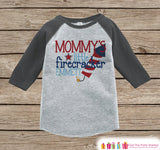 Mommy's Little Firecracker Onepiece or T-shirt - Custom 4th of July Outfit - Grey Raglan Shirt, Baseball Tee - Fourth of July Shirt