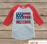 4th of July Outfit - Military Uncle Onepiece or Tshirt - Kids Red Raglan, Baseball Shirt - Uncle Is Brave Onepiece, T-shirt - Fourth of July