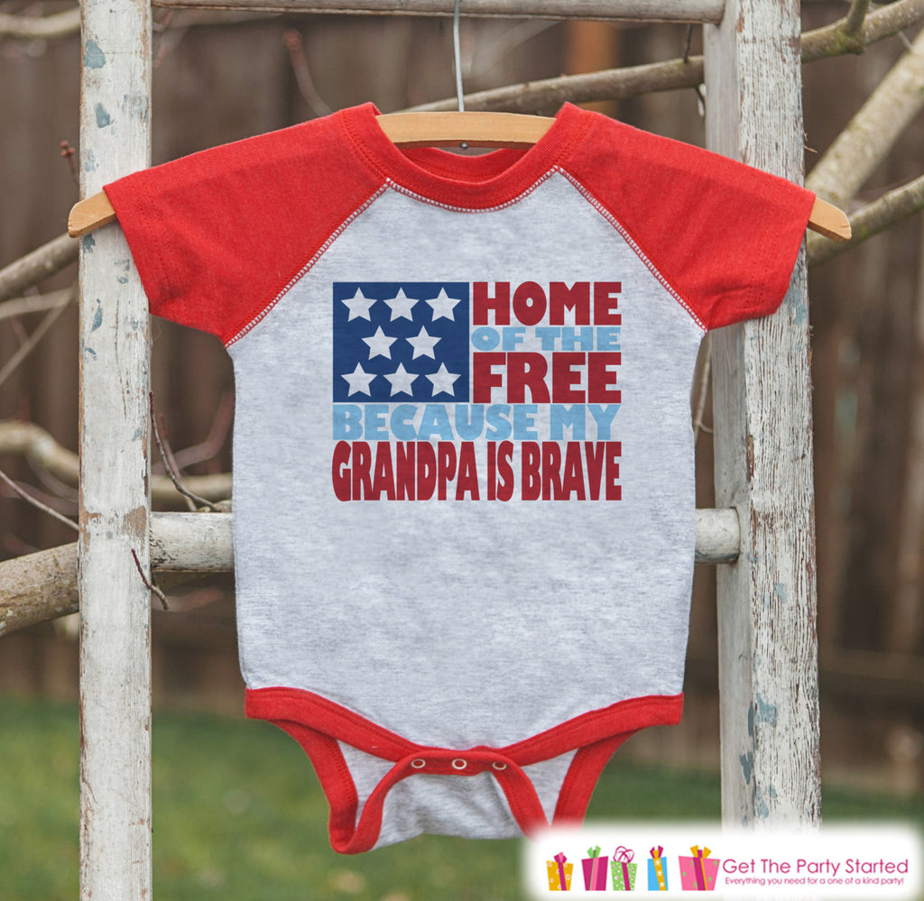 4th of July Outfit - Military Grandpa Onepiece or Tshirt - Kids Red Raglan, Baseball Shirt - Uncle Is Grandpa Onepiece, T-shirt - USA Pride