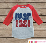 Kids 'Merica Outfit - 4th of July Onepiece or T-shirt - Red Raglan Shirt, Baseball Tee - American Pride Shirt, Baby, Toddler, Youth - Get The Party Started