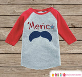 Kids 'Merica Mustache Outfit - 4th of July Onepiece or T-shirt - Red Raglan Shirt, Baseball Tee - American Pride, Baby, Toddler, Youth