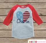 Kids 4th of July Outfit - Custom American Pride Heart Onepiece or T-shirt - Red Raglan Shirt, Baseball Tee - Fourth of July Holiday Shirt - Get The Party Started