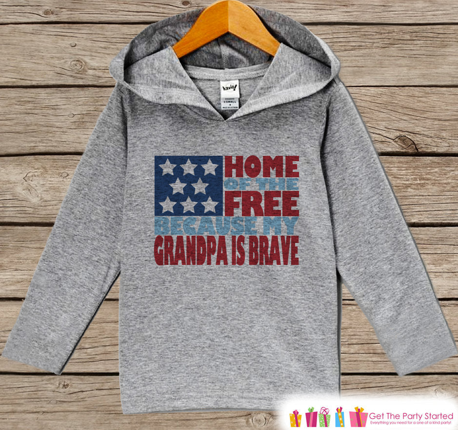 Kids 4th of July Outfit - Grandpa Is Brave Hoodie - Children's Pullover - Grey Toddler Hoodie - Infant Hoodie - Fourth of July, Military