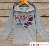 Kids 4th of July Outfit - Mommy's Little Firecracker Hoodie - Custom Children's Pullover - Grey Toddler or Infant Hoodie - Fourth of July