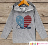Kids 4th of July Outfit - American Heart Hoodie - Custom Children's Pullover - Grey Toddler Hoodie - Infant Hoodie - Fourth of July Pride