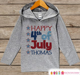 Happy 4th of July Hoodie - Kids Fourth of July Outfit - Custom Children's Pullover - Grey Toddler Hoodie - Infant Hoodie - American Pride - Get The Party Started