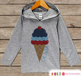 Ice Cream 4th of July Hoodie - Custom Fourth of July Outfit - Children's Pullover - Grey Toddler Hoodie - Infant Hoodie - American Pride