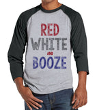 Men's 4th of July Shirt - Red, White & Booze Shirt - Grey Raglan Shirt - Men's Grey Baseball Tee - Funny Fourth of July Shirt - USA Pride - Get The Party Started