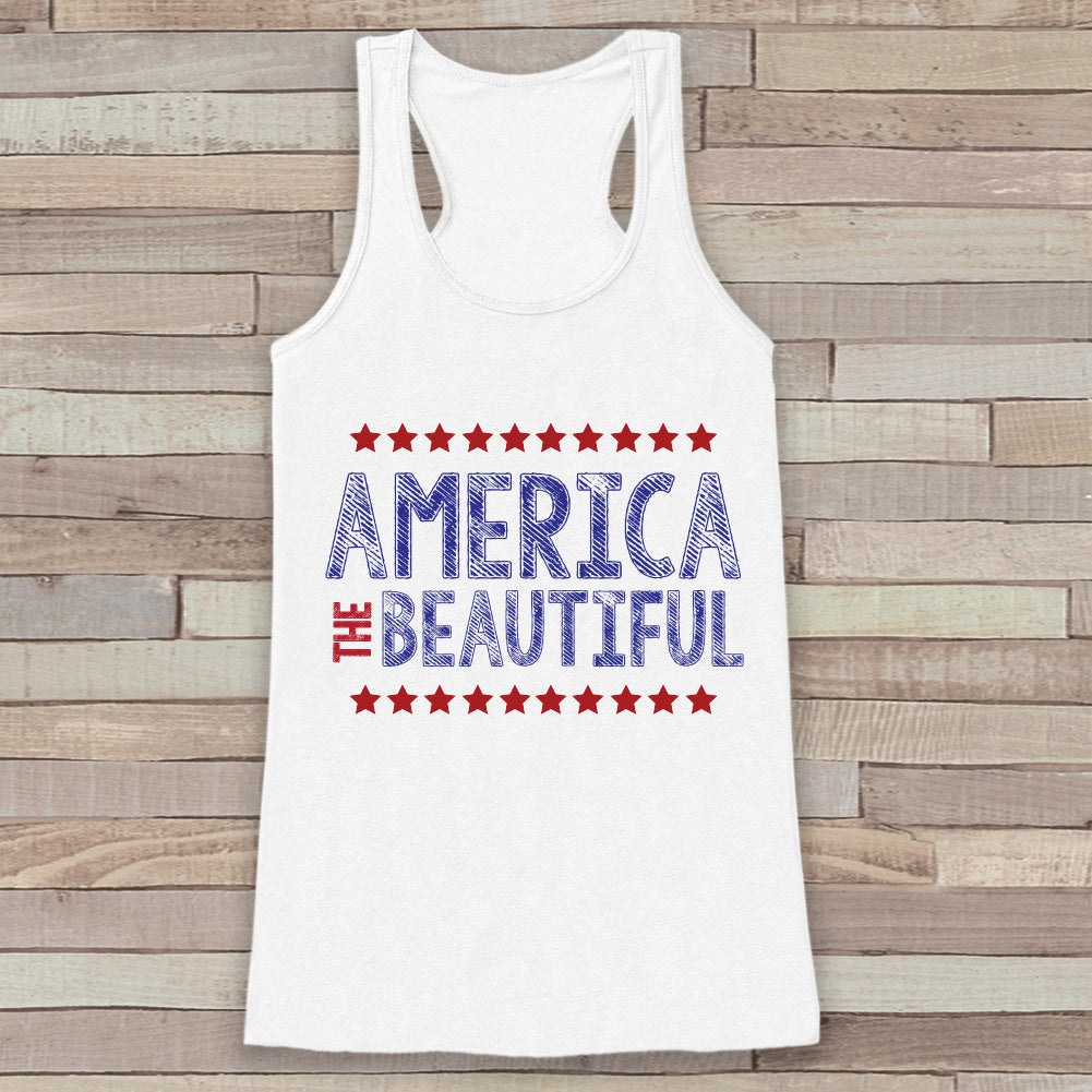 America the Beautiful Tank Top - Women's 4th of July Tank - White Flowy Top - Simple Fourth of July Shirt - American Pride Top - 4th of July