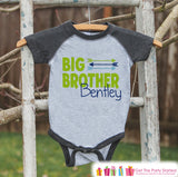 Boy's Big Brother Outfit - Grey Raglan Shirt, Onepiece - Kids Baseball Tee - Custom Camping Shirt Baby, Toddler, Youth - Adventure Outfit