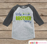 Boy's Little Brother Outfit - Grey Raglan Shirt, Onepiece - Kids Baseball Tee - Custom Camping Shirt Baby, Toddler, Youth - Adventure Outfit