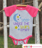Girl's Sleep Under the Stars Outfit - Pink Raglan Shirt or Onepiece - Kids Baseball Tee - Custom Camping Shirt for Baby, Toddler, Youth - Get The Party Started
