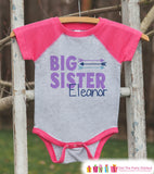 Girl's Big Sister Outfit - Pink Raglan Shirt, Onepiece - Kids Baseball Tee - Custom Camping Shirt Baby, Toddler, Youth - Adventure Outfit