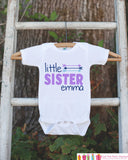 Girl's Little Sister Outfit - White Shirt, Onepiece - Personalized T-Shirt or Onepiece- Camping Shirt Baby, Toddler, Youth - Adventure - Get The Party Started