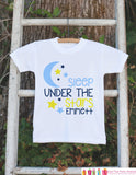 Boy's Under the Stars Outfit - White Shirt or Onepiece - Custom T-Shirt - Camping T Shirt for Baby, Toddler, or Youth - Adventure Clothing - Get The Party Started