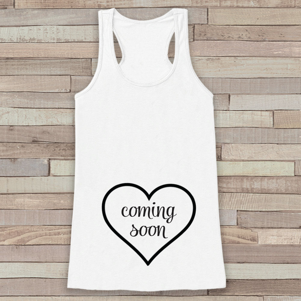 Pregnancy Announcement Tank - Simple Pregnancy Shirt - Baby Coming Soon Tank - White Tank Top - Pregnancy Announcement Shirt - New Mom