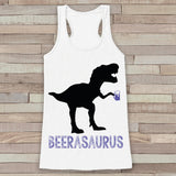 Dinosaur Beer Tank Top - Beerasaurus - White Flowy Tank - Fun Gift Idea - Funny Shirt For Her - Beer Lover Gift Idea - Dinosaur Lover Gift
