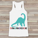 Blue Dinosaur Shirt - Hungry Dinosaur, Donuts, Omnomnomivore - Womens White Tank Top - Funny Shirt - Dinosaur Lover Gift -  Gift For Her