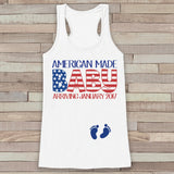 American Made Baby - Pregnancy Announcement - New Mom 4th of July Tank - White Flowy Tank - Pregnancy Fourth of July Shirt - Mom to Be Tank - Get The Party Started