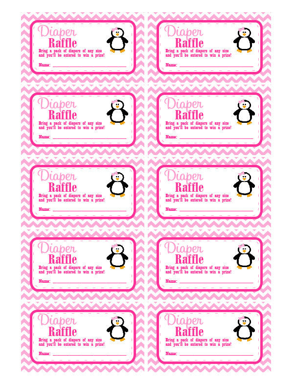DIAPER RAFFLE TICKETS - Printable Baby Shower Raffle Tickets - Girls Pink Penguin Baby Shower - Instant Download - Printable Tickets - Get The Party Started