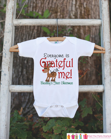 Baby Christmas Outfit - 1st Christmas Onepiece - Everyone Is Grateful For Me Reindeer Shirt - Baby's First Christmas - Baby Boy or Girl