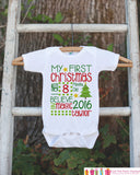 Baby's First Christmas Outfit - First Christmas Onepiece - Baby's First Christmas Outfit for Baby Boy or Baby Girl's My First Christmas Top - Get The Party Started