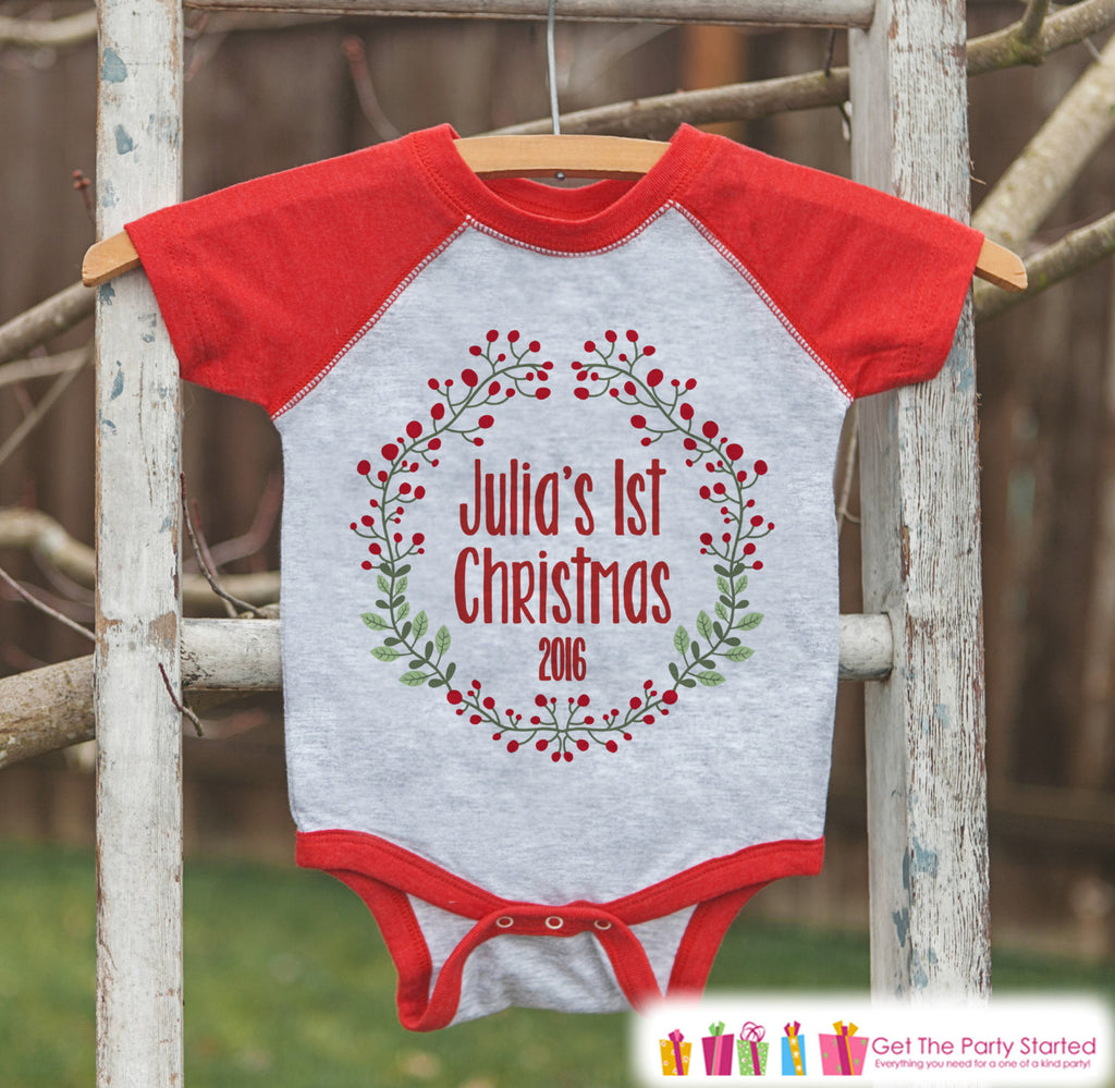 Baby Christmas Shirt - Kid Holiday Shirt or Onepiece - First ...